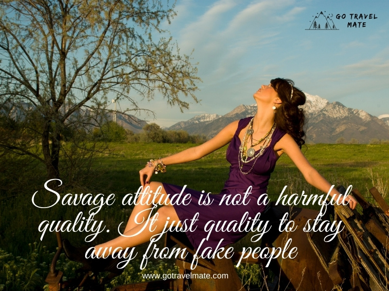 Savage attitude is not a harmful quality. It just quality to stay away from fake people
